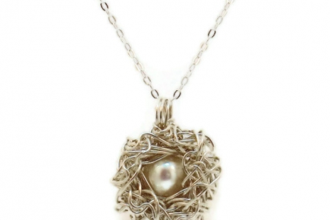 Sterling Silver Bird Nest Necklace with One White Pearl Egg