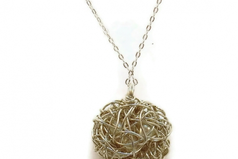 Sterling Silver Bird Nest Necklace -- Three White Pearl Eggs