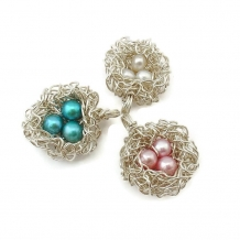 Three egg bird nest pendant