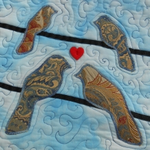 Four Birds on a Wire Art Quilt Wall Hanging