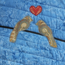 Two Lovebirds on a Wire Art Quilt