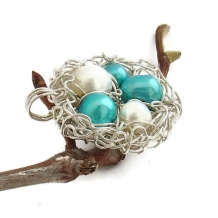 Grandmother&#039;s Bird Nest Necklace in Sterling Silver with Five Pearls
